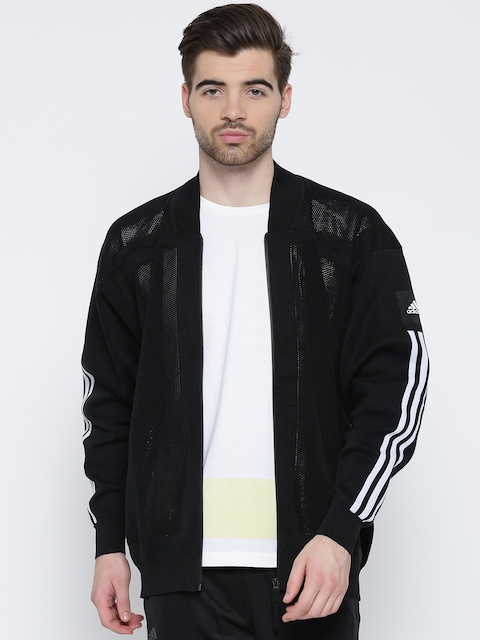 Adidas Black Icon U KN BOM Mesh Patterned Sporty Jacket