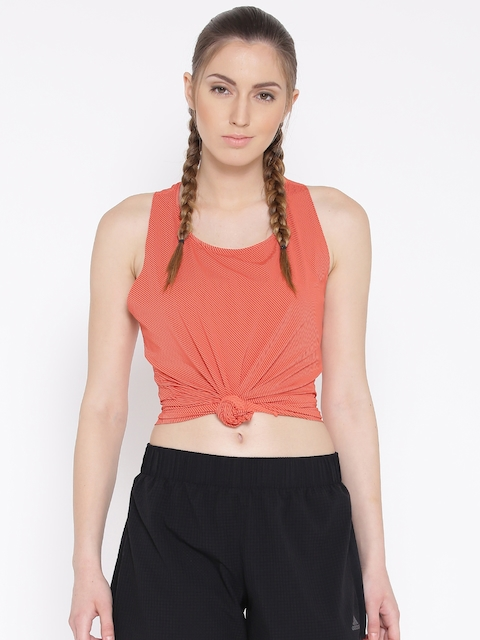 Adidas Women Orange CAP CHILL TAN1 Striped Tank Top