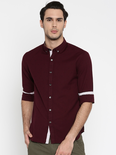 Flying Machine Maroon Slim Fit Self-design Casual Shirt