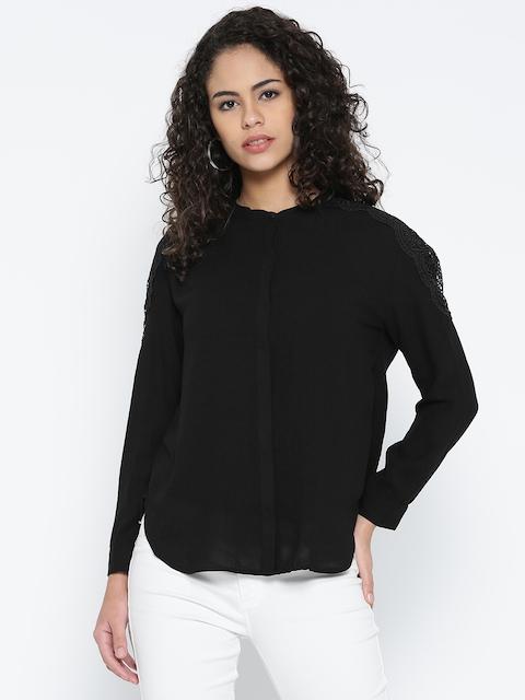 Madame Women Black Solid Casual Shirt