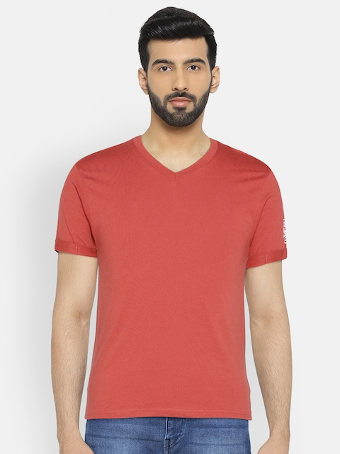 Flying Machine Men Rust Red Solid V-Neck T-shirt