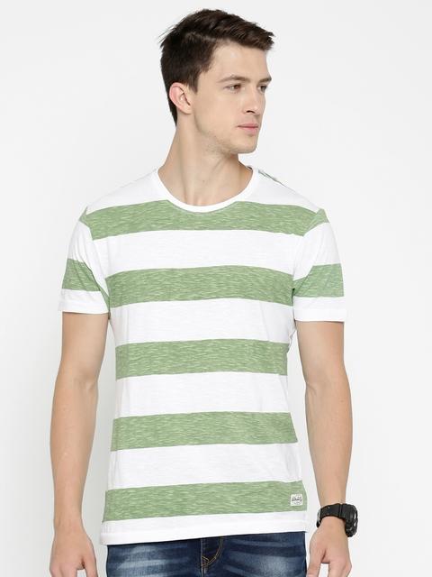 Flying Machine Green & White Striped Round Neck T-shirt