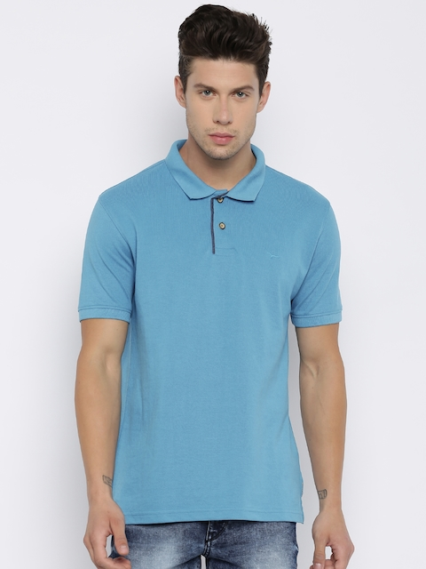 Flying Machine Men Blue Solid Polo Collar T-shirt