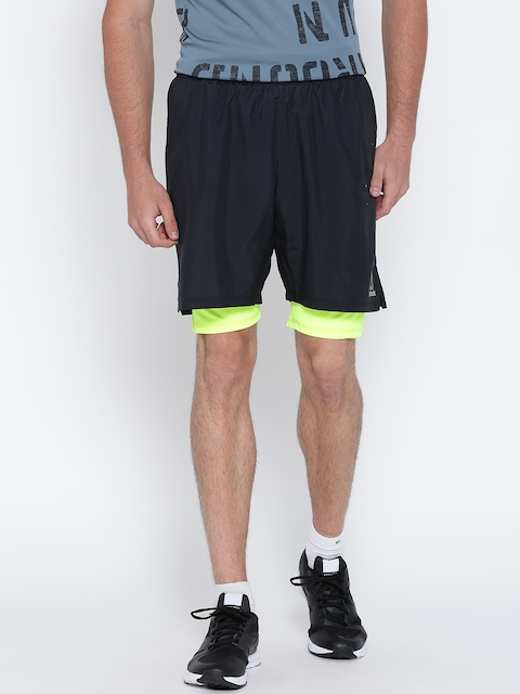 Reebok Men Black OSR 2-1 AC Solid Slim Fit Running Shorts  available at myntra for Rs.879