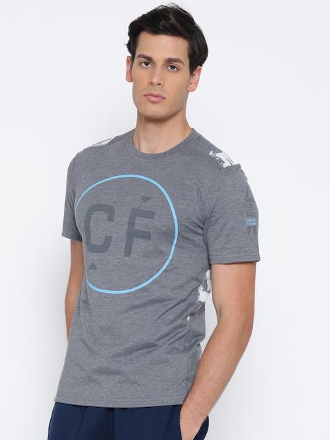 Reebok Men Grey Melange Burn-Out Printed Round Neck T-shirt