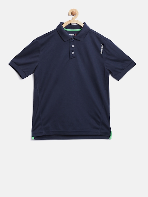Reebok Unisex Navy B COR POLY Solid Polo Collar T-shirt  available at myntra for Rs.599