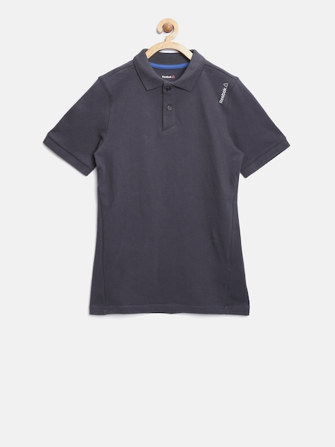 Reebok Kids Charcoal Grey B Core Cot Polo Collar T-Shirt  available at myntra for Rs.599