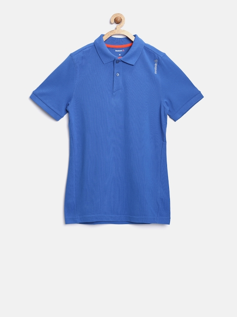 Reebok Kids Blue Core Cot Solid Polo Collar T-shirt  available at myntra for Rs.599