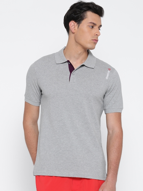 Reebok Men Grey Melange Core Cotton Solid Polo Collar T-shirt  available at myntra for Rs.699