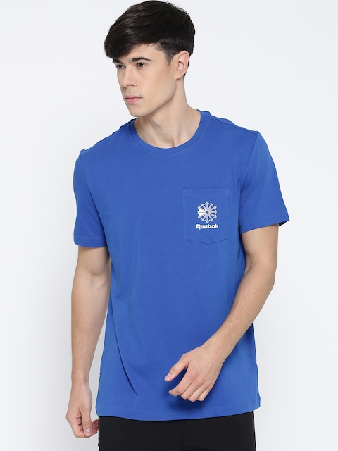 Reebok Classic Men Blue F POCKET Printed Round Neck T-shirt