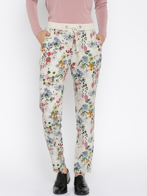 ONLY Women Beige Printed Trousers