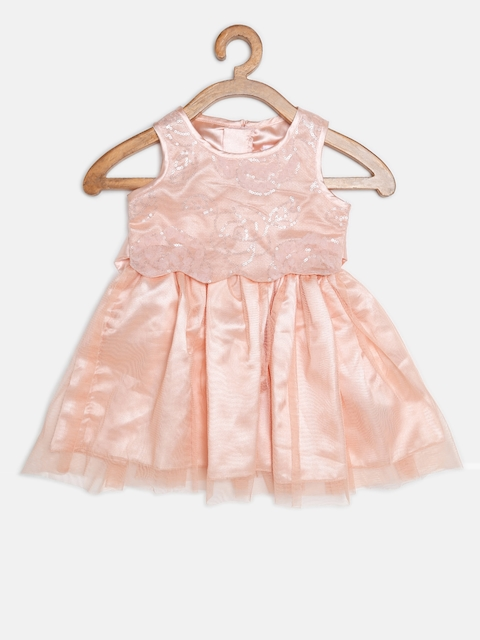 Chirpie Pie by Pantaloons Girls Peach-Coloured Net Fit & Flare Dress