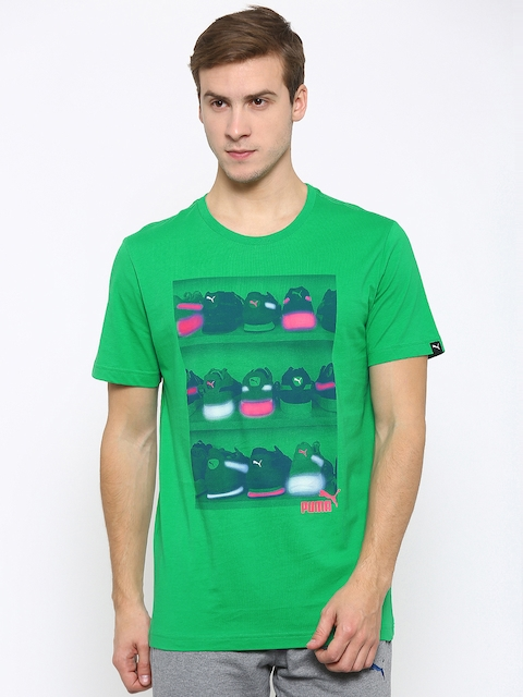 Puma Men Green Sneaker Photo Printed T-Shirt  available at myntra for Rs.449