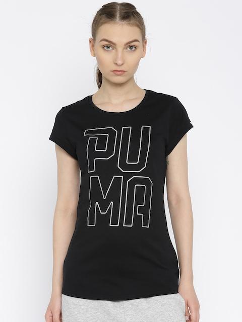 Puma Women Black Printed Regular Fit Round Neck T-shirt