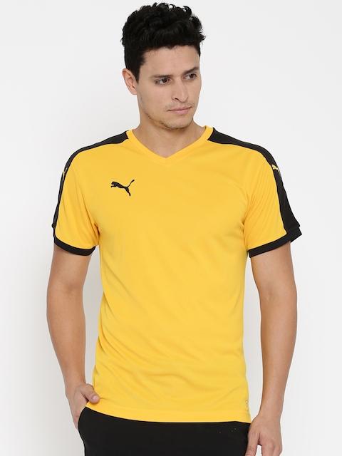 Puma Men Yellow Printed V-Neck T-shirt