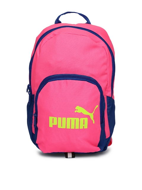 Puma Women Pink & Blue Phase Small Colourblocked Backpack  available at myntra for Rs.519
