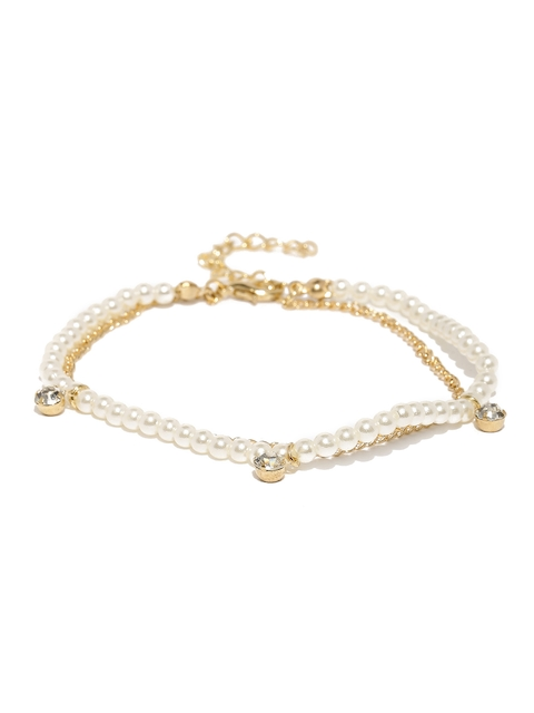 ToniQ White & Gold-Toned Dual-Stranded Beaded Anklet