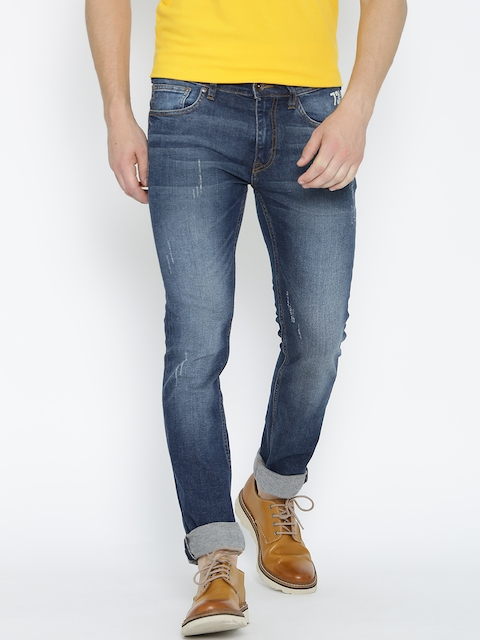 Pepe Jeans Men Blue Slim Fit Low-Rise Mildly Distressed Stretchable Jeans