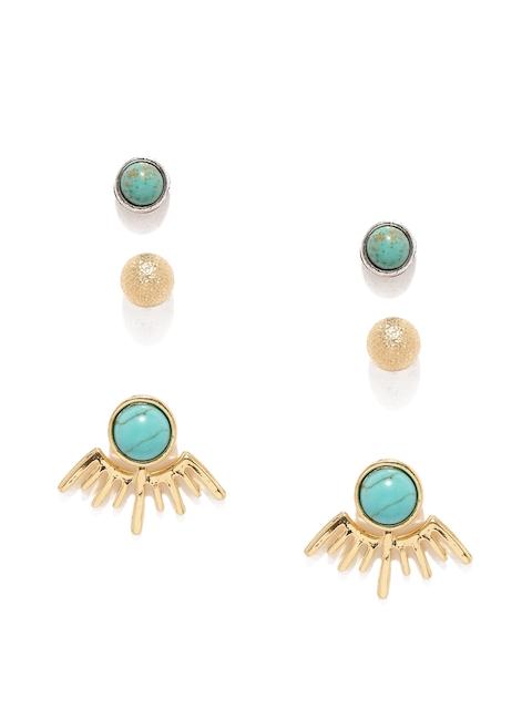 ToniQ Gold-Toned & Turquoise Blue Set of 3 Earrings