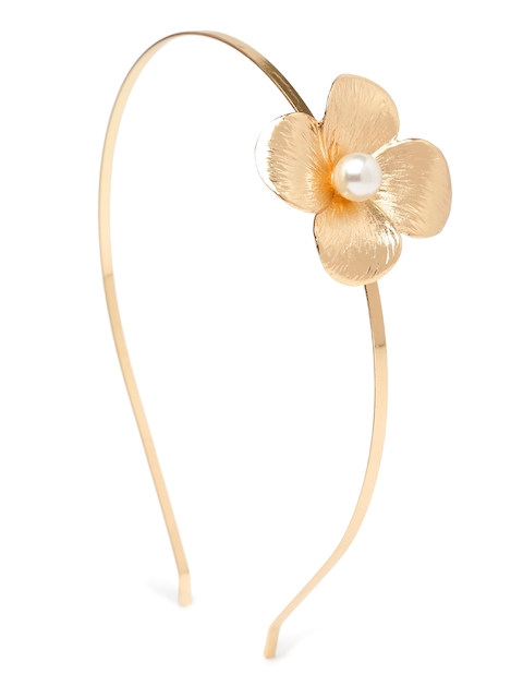 ToniQ Gold-Toned Hairband with Floral Detail