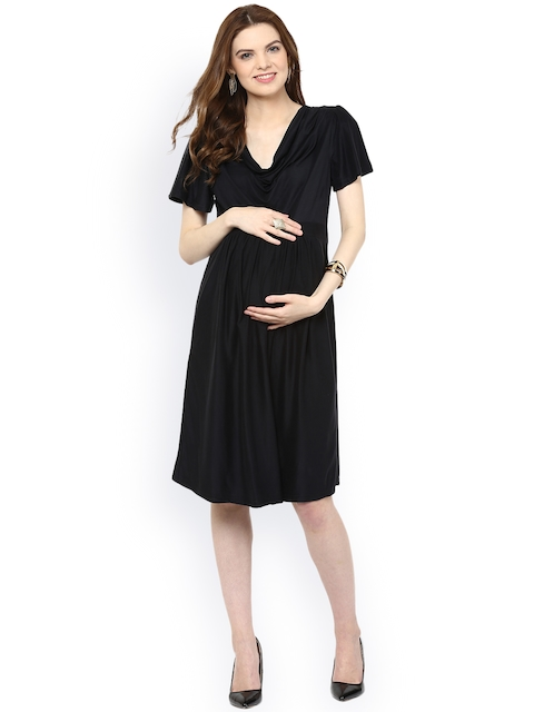 Mamacouture Women Black Solid Fit & Flare Maternity Dress