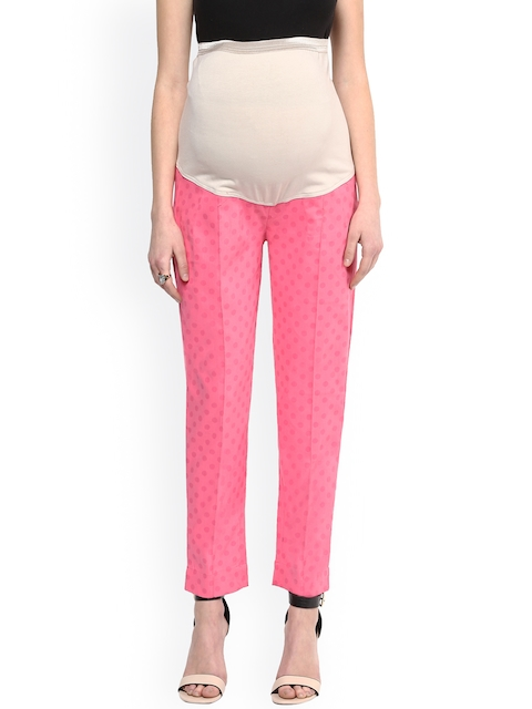 Mamacouture Pink Polka Dot Print Tapered Fit Maternity Trousers