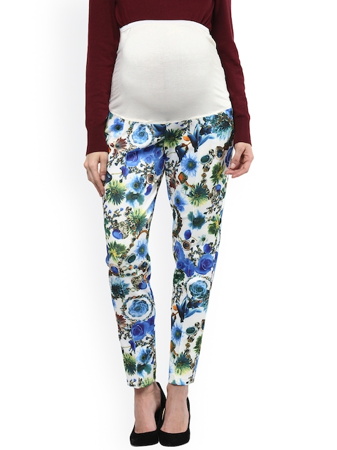 Mamacouture White & Blue Tapered Fit Floral Print Maternity Trousers