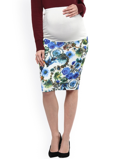 Mamacouture White & Blue Floral Print Maternity Pencil Skirt