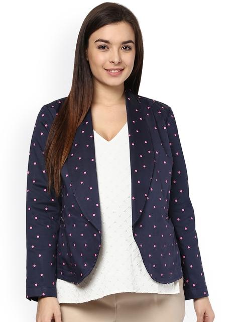 Mamacouture Navy & Pink Polka Dot Print Maternity Jacket