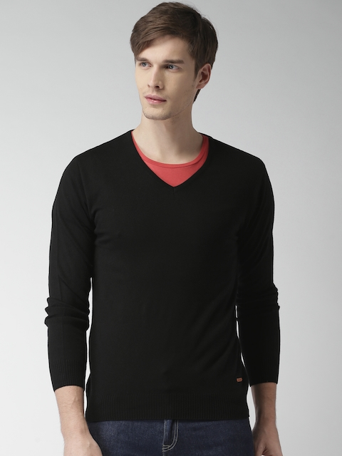 Mast & Harbour Men Black Solid Sweater