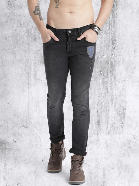 Roadster Men Black Skinny Fit Mildly Distressed Stretchable Jeans