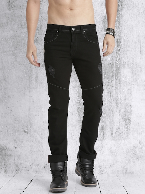 Roadster Men Black Regular Fit Mid-Rise Low Distress Jeans