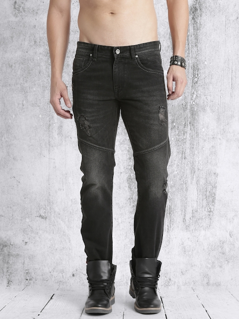 Roadster Men Black Slim Fit Mid-Rise Low Distress Jeans
