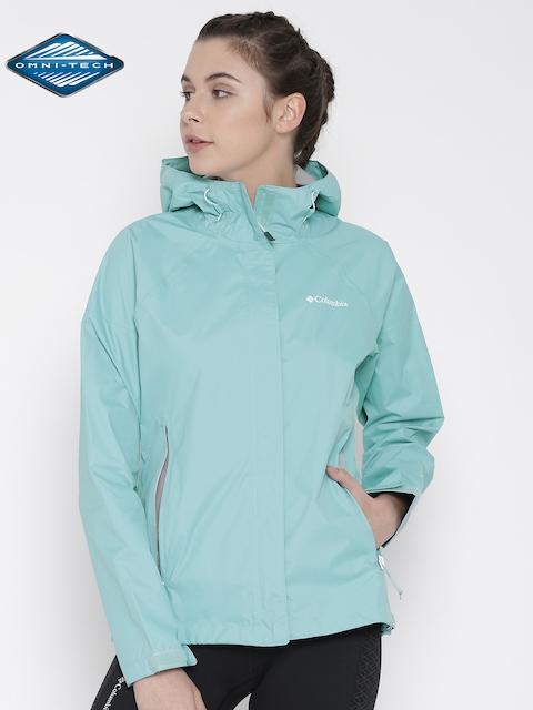Columbia Blue Sleeker Hooded Outdoor Rain Jacket