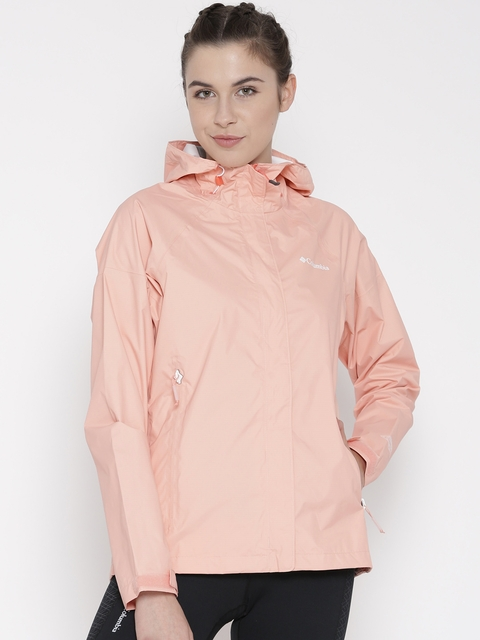 Columbia Peach-Coloured Sleeker Hooded Outdoor Rain Jacket