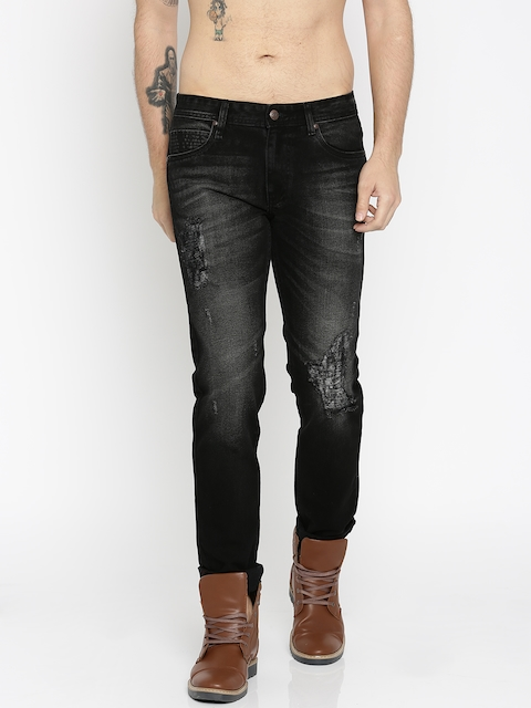 RDSTR Black Tapered Fit Mid-Rise Mildly Distressed Jeans