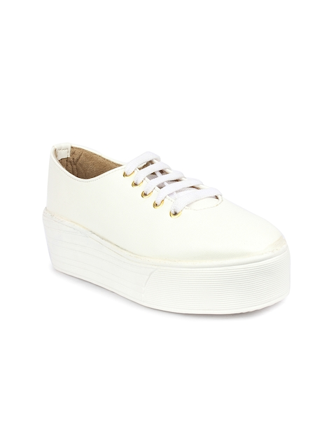 Shoetopia Women White Solid Flatform Sneakers