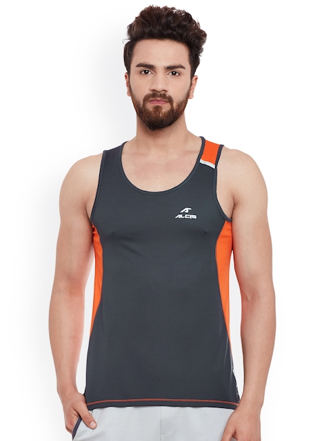 Alcis Men Grey & Orange Round Neck Sleevelees Slim Fit Sports T-shirt  available at myntra for Rs.299