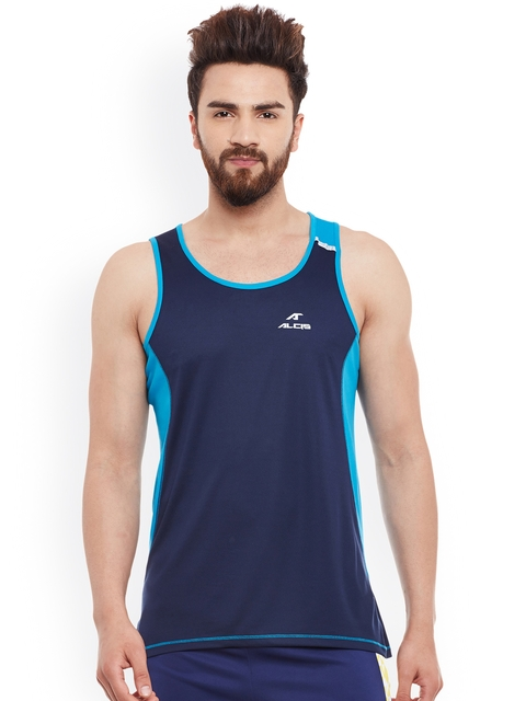 Alcis Men Navy Round Neck Sleevelees Slim Fit Sports T-shirt  available at myntra for Rs.299