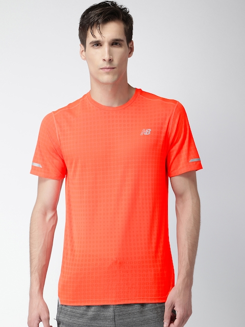 New Balance Men Orange Self Design Round Neck T-shirt