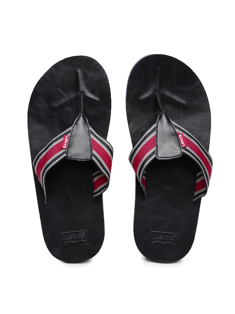Levis Men Grey & Red Sandals