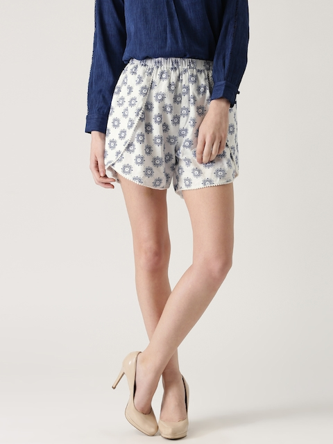 Marie Claire Women White & Navy Printed Shorts