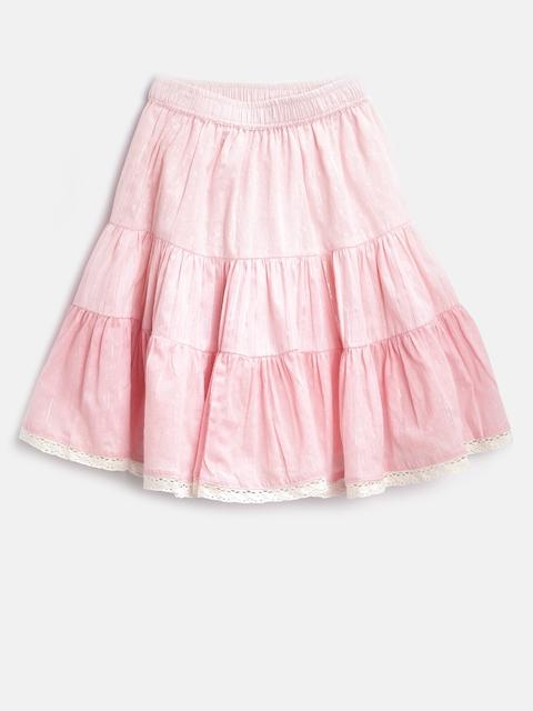 Biba Girls Pink Shimmer Panelled Flared Skirt