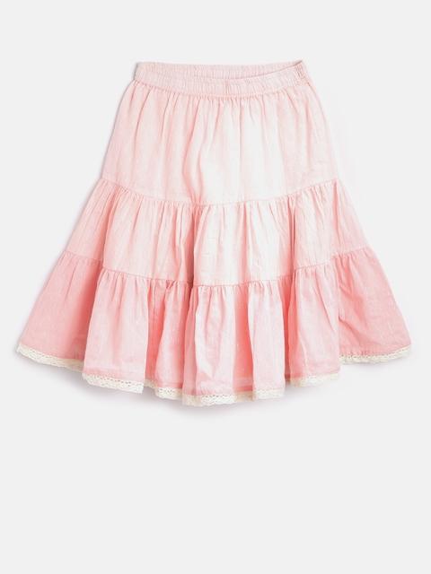 Biba Girls Pink Shimmer Panelled Striped Flared Skirt