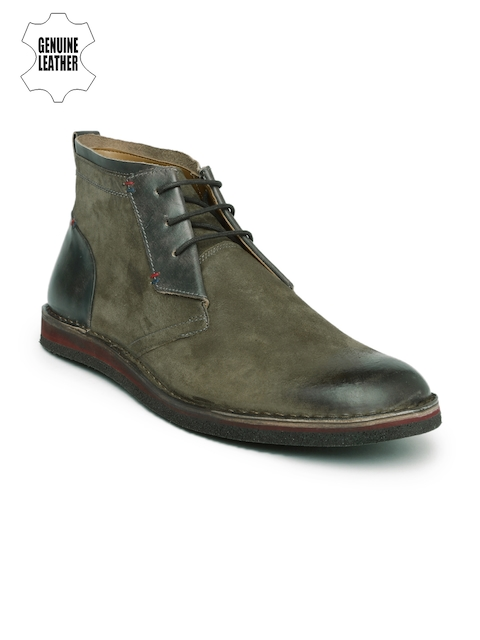 Ruosh Men Green Mid-Top Leather Flat Boots