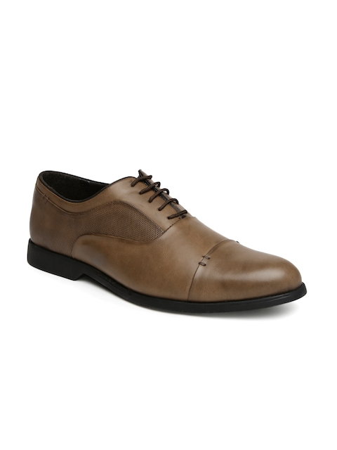 San Frissco Men Tan Brown Textured Oxford Formal Shoes