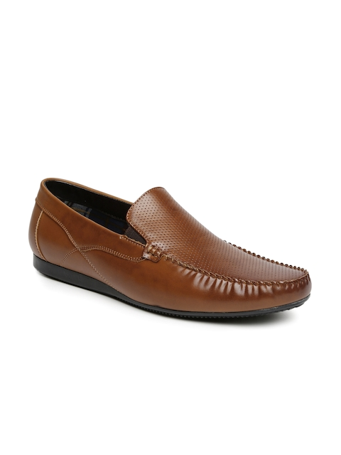 San Frissco Men Tan Brown Perforated Semiformal Slip-Ons
