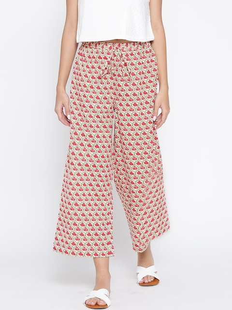 Biba Women Off-White & Red Printed Cropped Palazzos