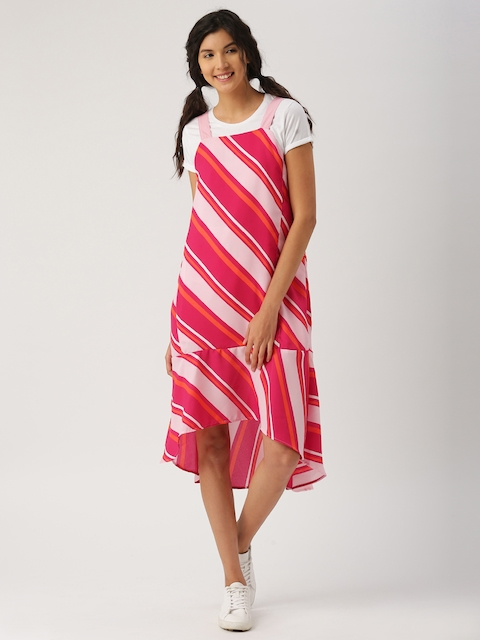 DressBerry Women Pink & Orange Striped Midi Dress  available at myntra for Rs.449