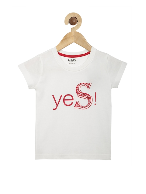 NO.99 Boys White Printed Round Neck T-shirt  available at myntra for Rs.269